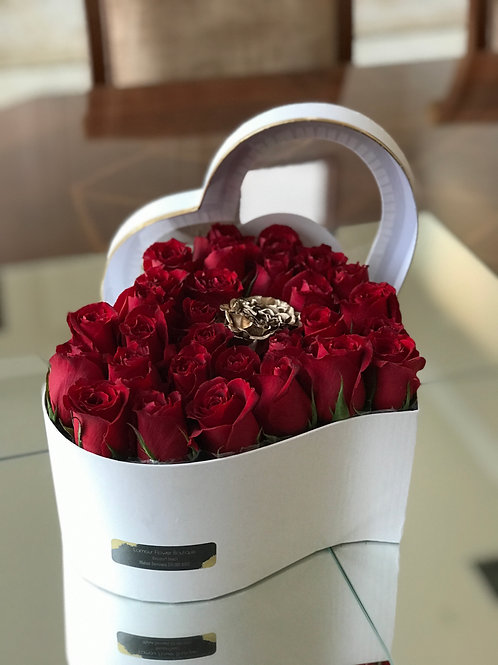 Heart Shape Box of Roses, In Colors of White & Black