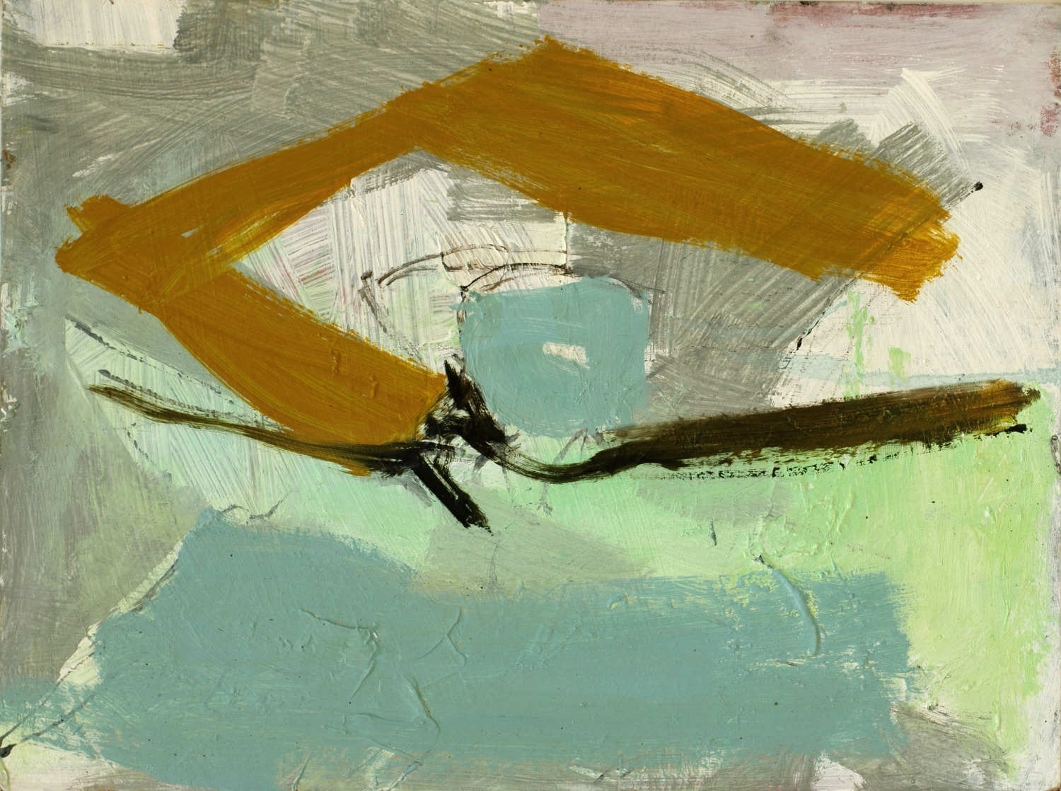turquoise & ochre abstract (sold)