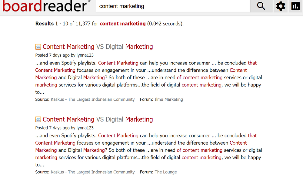 boardreader search result for content marketing