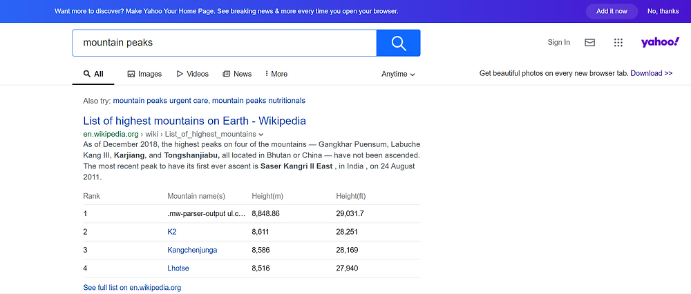 yahoo search result on mountain peaks