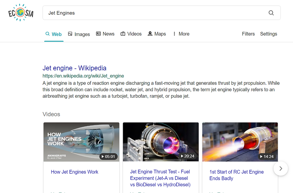 ecosia search result for jet engines