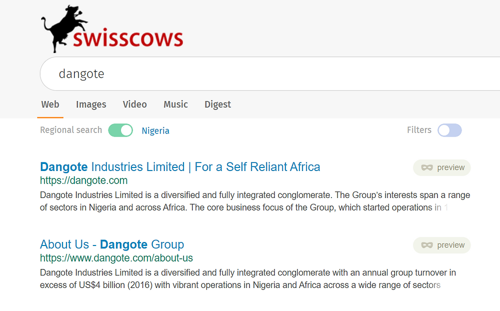 swisscows search results for dangote