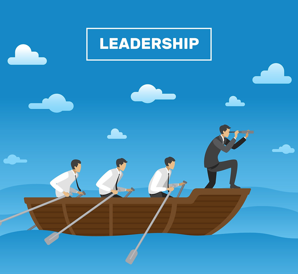 A leader directing his team on a boat out on the ocean.