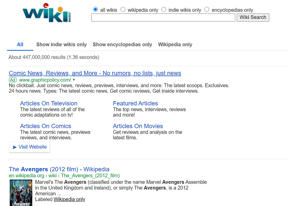 wiki search result for avengers