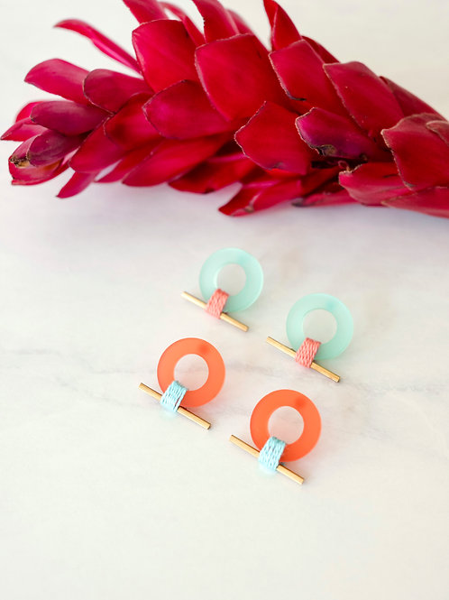 Product image of Froot Loops Stud Earrings in both mint and red colors