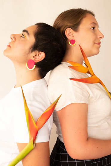 Sunny Side Studio earrings, models wearing unique handmade jewelry