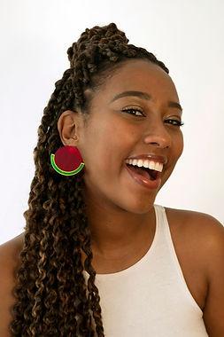 Model wearing Dragon Fruit Stud Earrings
