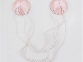 Nipple Pasties - Pink with Pearl Beaded Chain