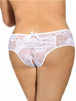White Lace Crotchless Underwear