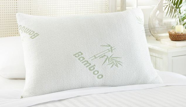 Bedding Photography: White and green embossed Bamboo logo pillow for bedding photographed one white stripe duvet with white cane headboard.
