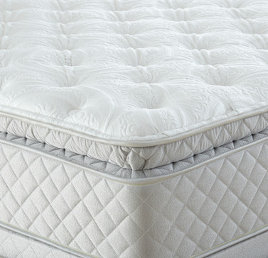 Mattress Photography: Close-up of corner of pillow top mattress showing texture. White top with tan sides.
