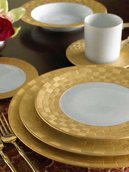 Product Photography Gold Checkered Dinnerware