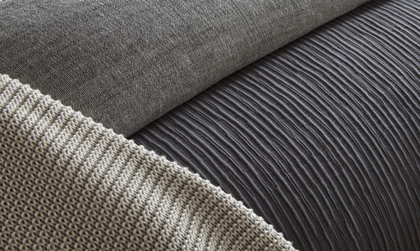 Bedding Photography: close-up detail of grey ribbed bedding for Amity Home.