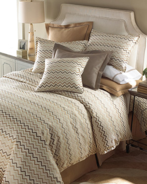 Bedding Photography: High angle view of Missoni brown and tan striped bedding for Neiman Marcus. Matching pillow shams and pillow cases.
