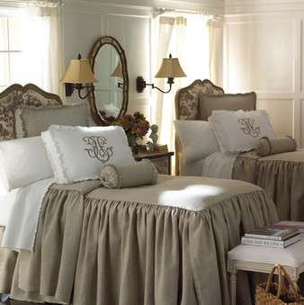 Bedding Photography: Matching twin beds with long drop bedding by Legacy Home shown in white room side by side.