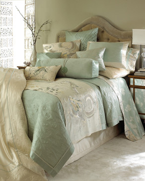 Bedding Photography: Green and tan bedding ensemble from Neiman Marcus. Luxurious room setting.