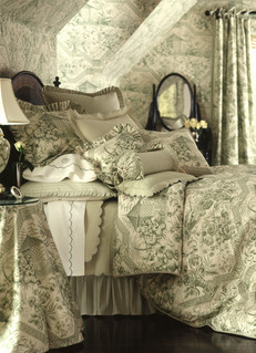 Bedding Photography: Profile view of green toile bedding ensemble photographed in room with wallpaper of the same pattern making the bed and room coordinate.
