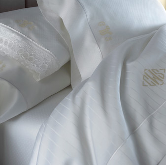 Bedding Photography: Fine detail white line and dot sheets by Neiman Marcus shown on a bed photographed close-up.
