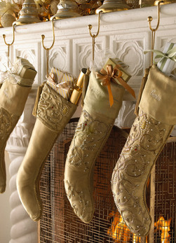 Product photography Gold Christmas Stockings