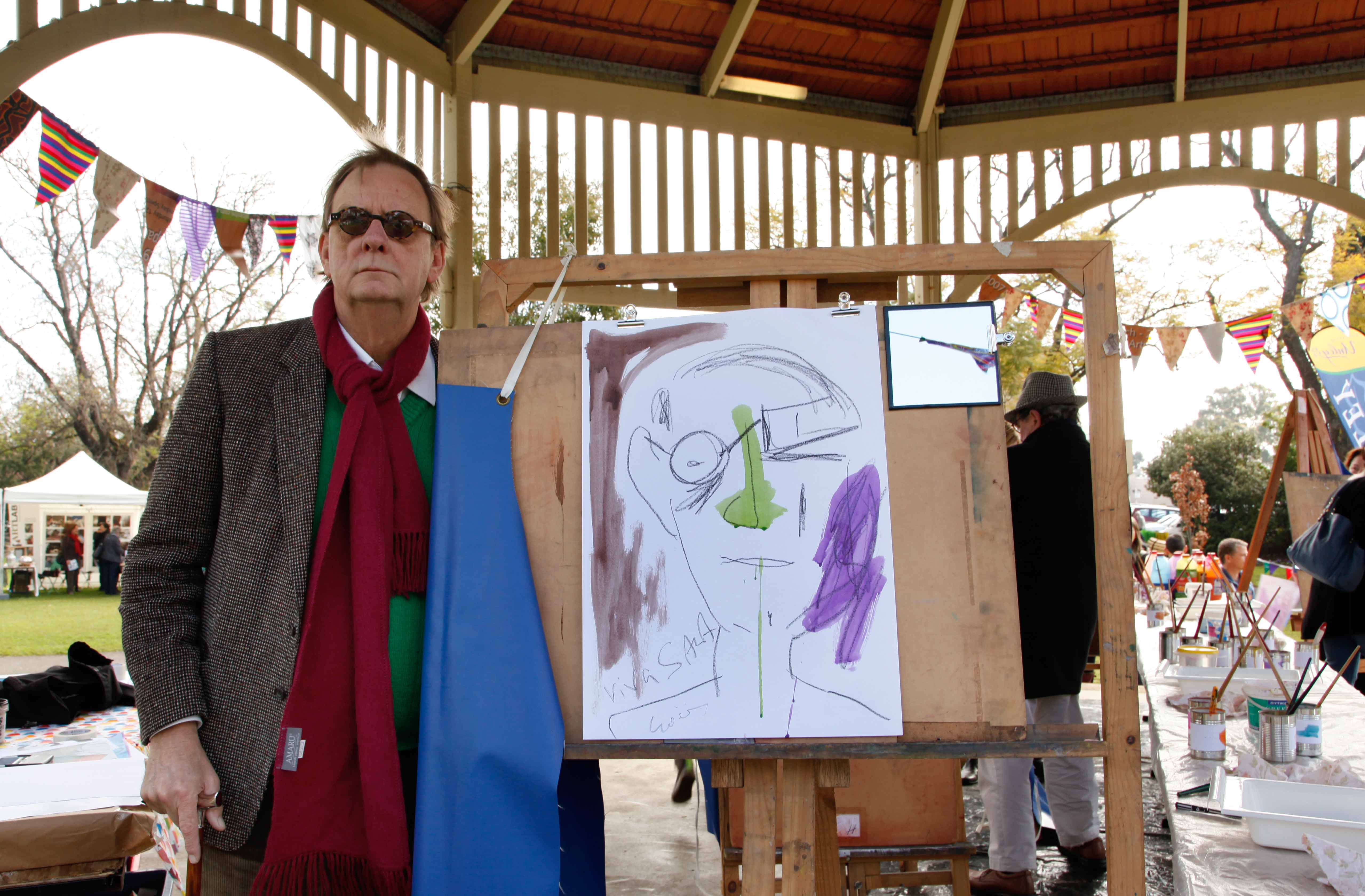 Peter Goers with his self portrait