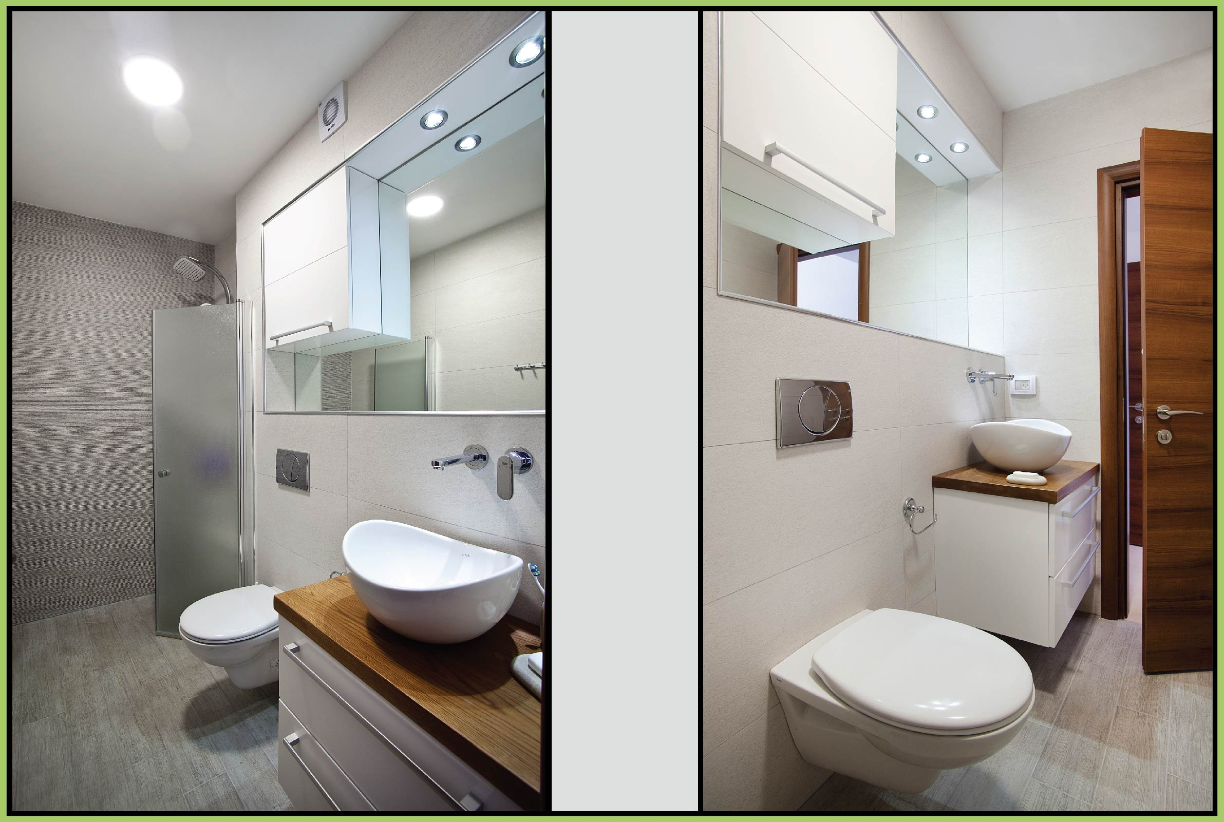 White bathroom with wood combination