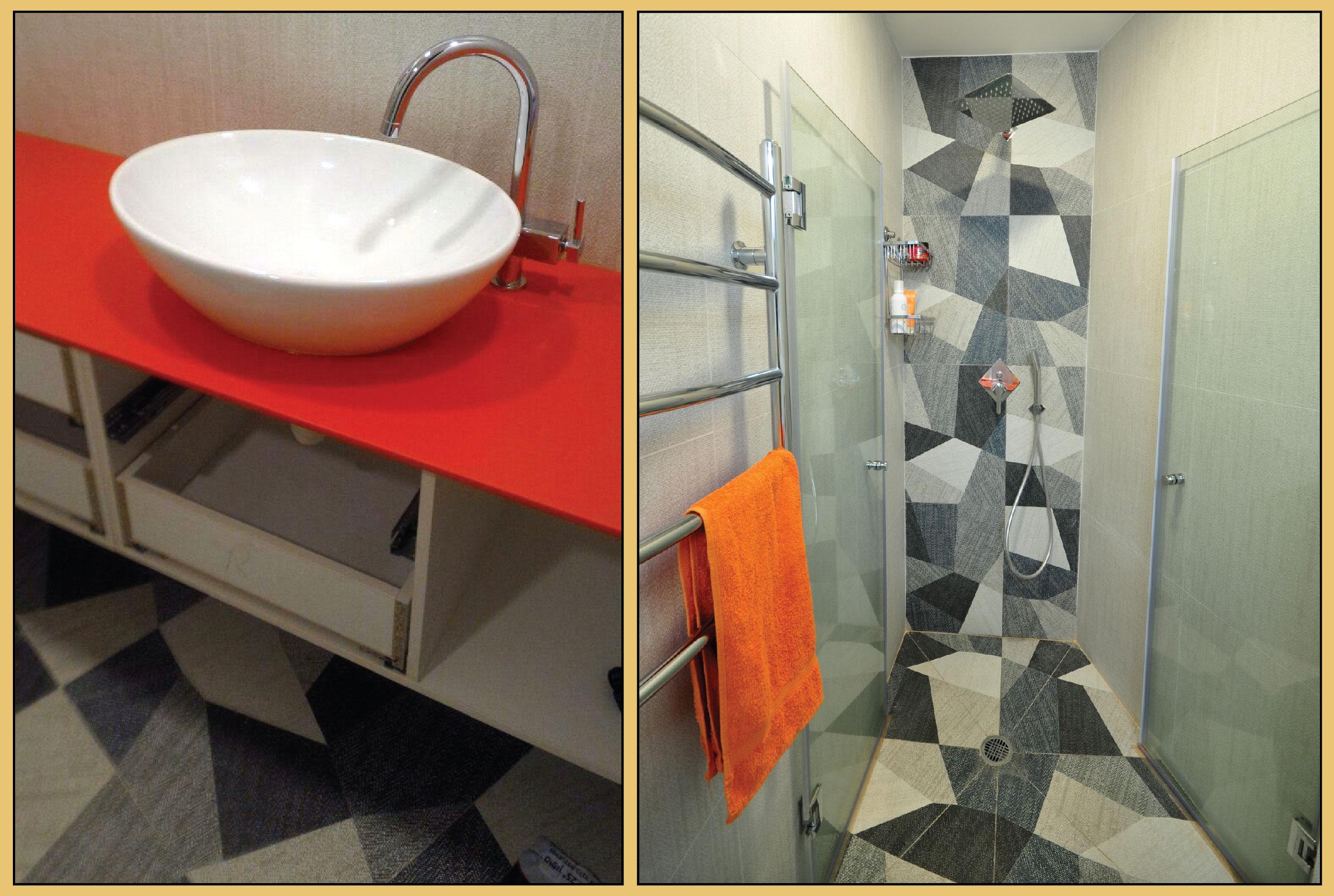 Orange Korean surface in a bathroom