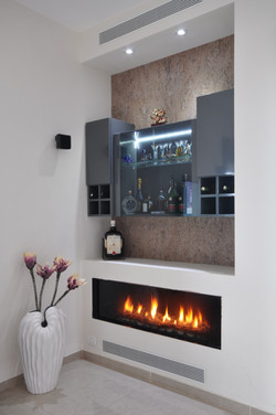 Bar design with fireplace