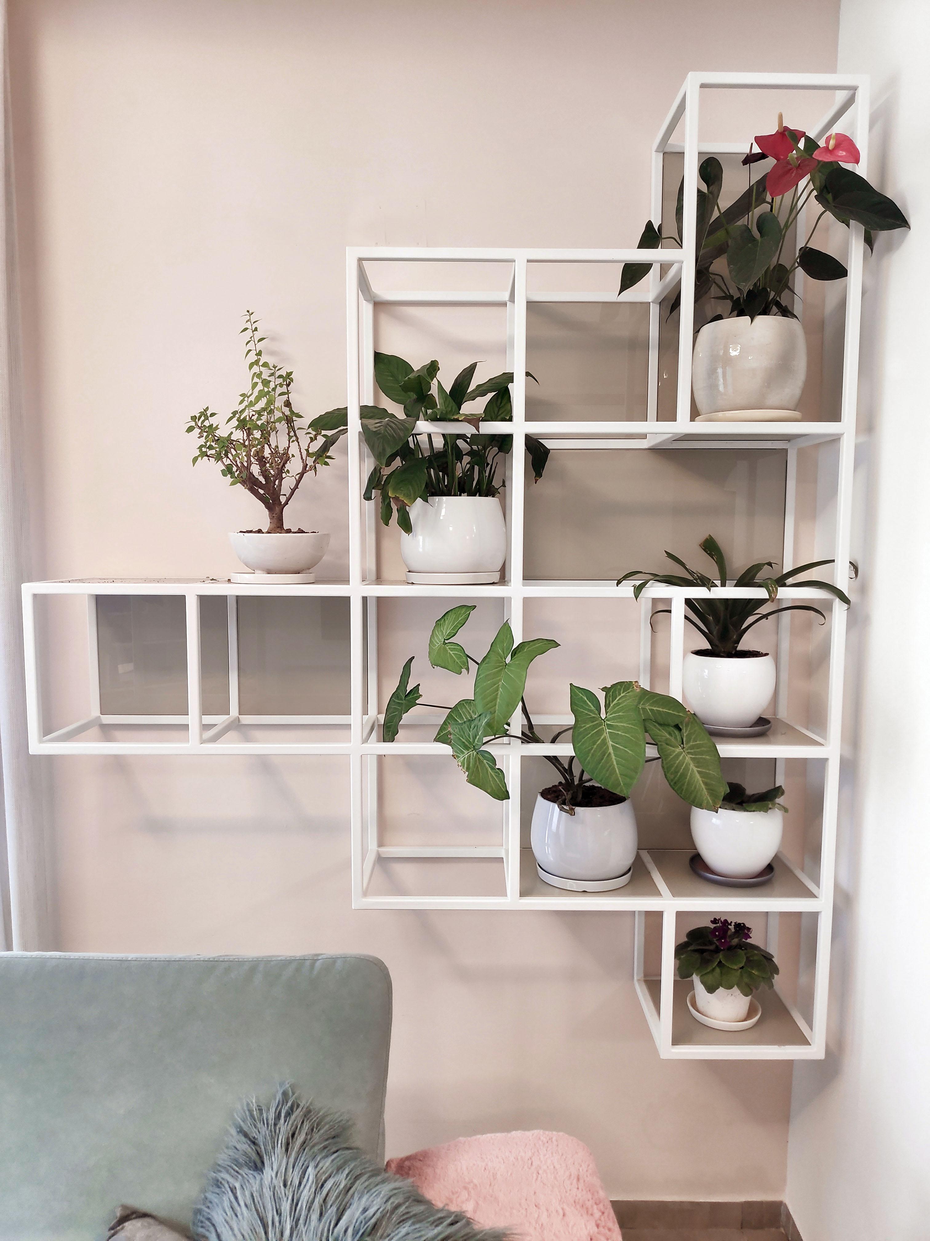 Iron and glass decorative shelves, מדפים דקורטיביים