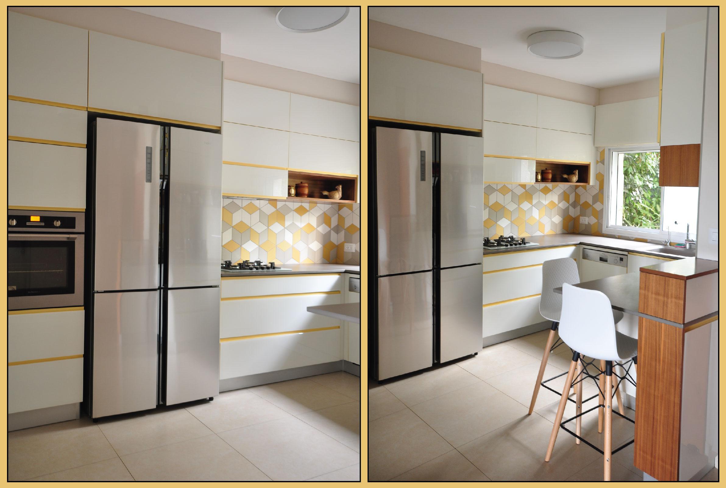Kitchen yellow integral handles