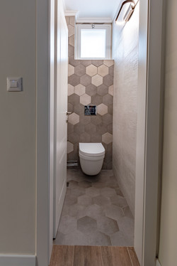 Hexagons decor in guest toilet