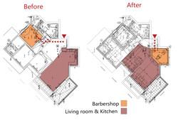 Apartment plan, Before and After, שרטוטים לפני ואחרי