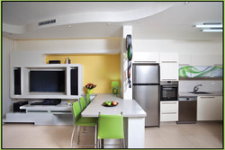 Plaster design: TV wall and ceiling