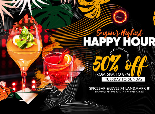 HAPPY HOUR AT SPICE BAR - DRINK MORE, PAY LESS, GET HAPPY