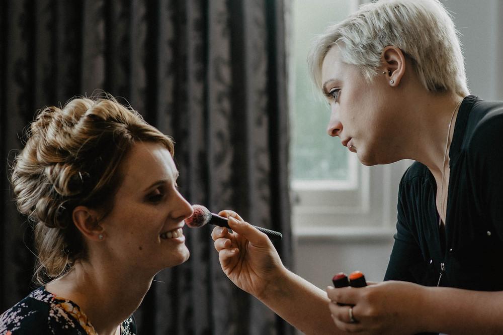 Bridal Hair and Makeup Action Shot, Mazz Loxton, Hair and Makeup Artistry, Sheffield