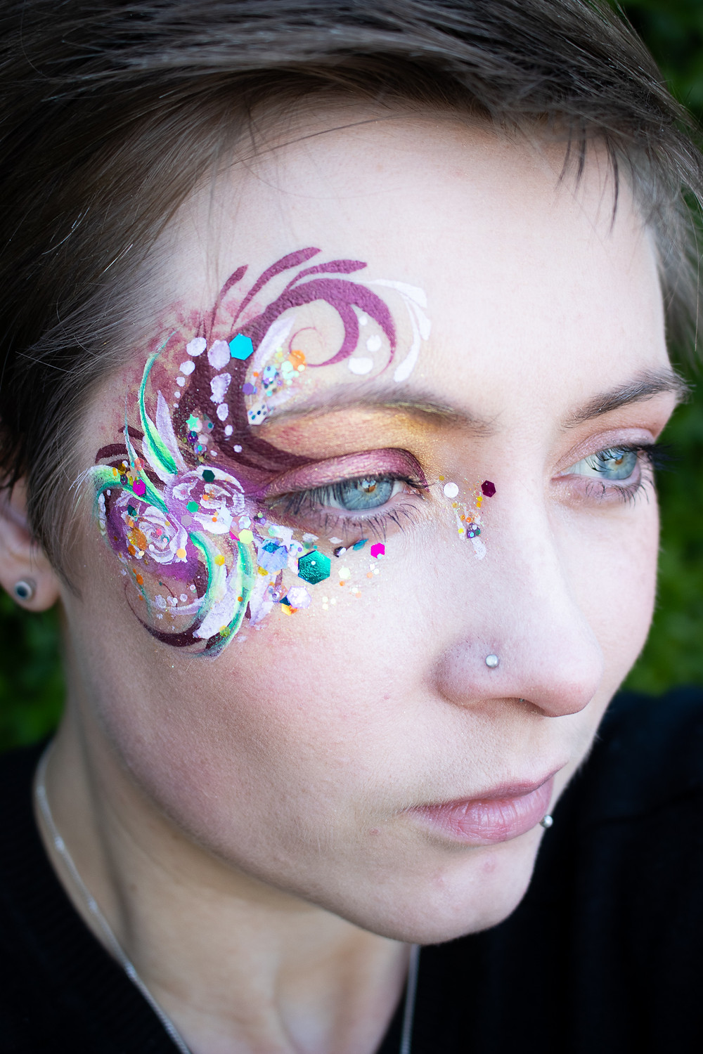 Adult Floral inspired Face Paint and Glitter