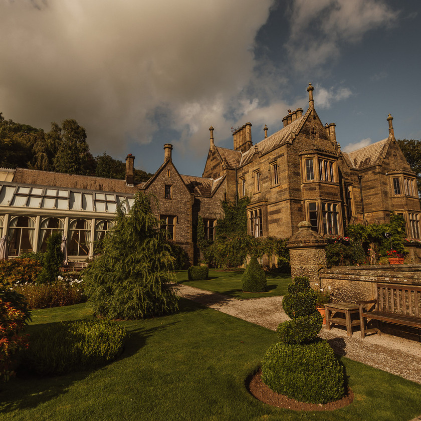 Peak District Autumn Sunset Wedding, Cressbrook Hall
