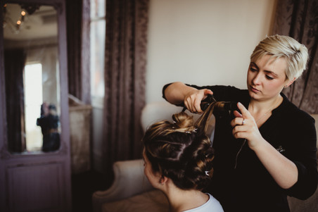 Behind the scenes, bridal hair prep