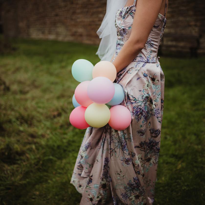 Marie Antoinette inspired Wedding. Wedding Dress and Balloon Bouquet