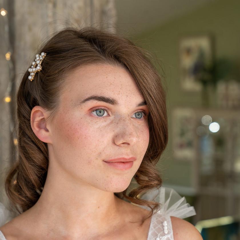 Natural Bridal Makeup and Soft Curled Hair, Mazz Loxton, Hair and Makeup Artistry, Sheffield
