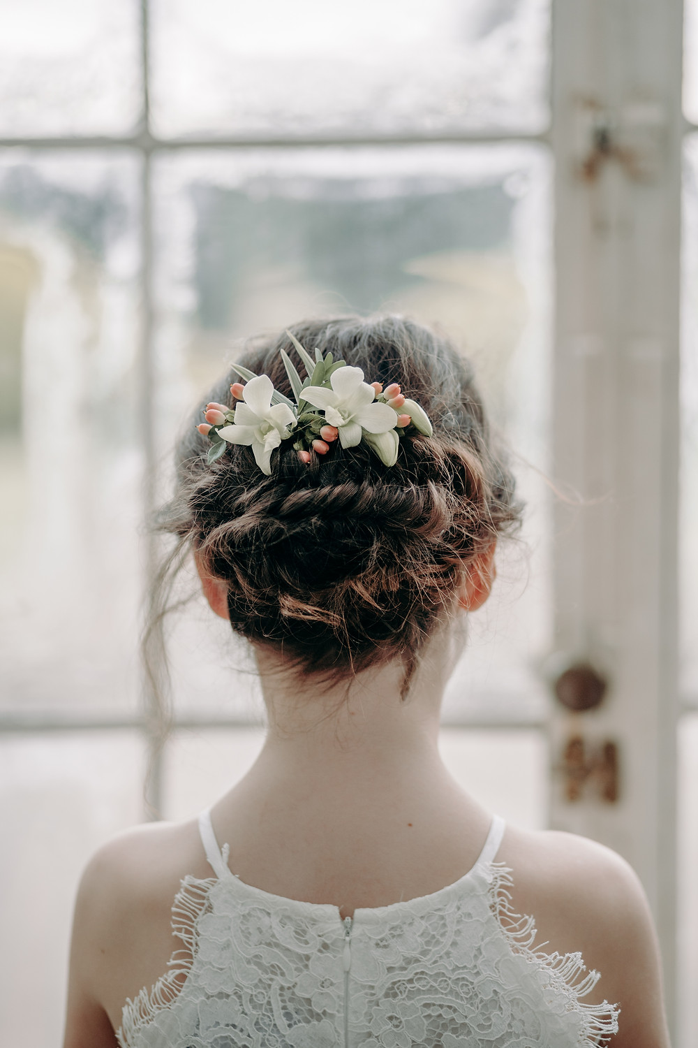 Fishtail braid, textured bridal flower girl hairstyl, Mazz Loxton Hair and Makeup Artistry, Sheffield