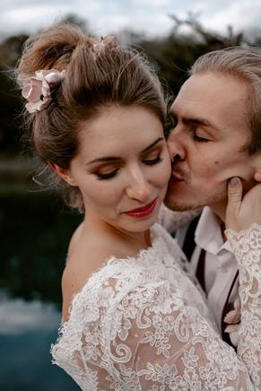 High Textured Bridal Bun and Smokey Bridal Makeup
