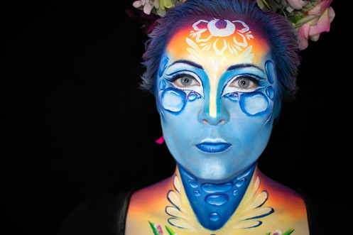Competition entry for The World Body Painting Festival 2020 Face Painting Competition. Theme: Wonders of Nature. Concept: The Water Cycle. Face Painter: Mazz Loxton, The Mobile Painting Parlour, Sheffield