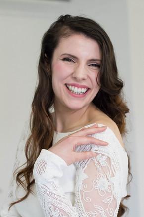 Creative, Natural Bridal makeup and relaxed hollywood waves