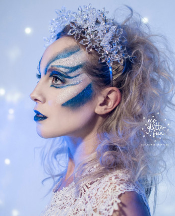 Adult Ice Queen Face Paint and Glitter