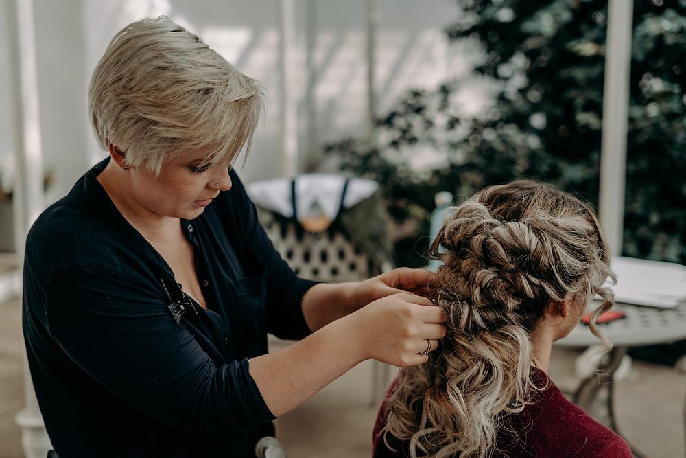 Boho Bridal Hair Styling Action Shot, Mazz Loxton, Hair and Makeup Artistry, Sheffield