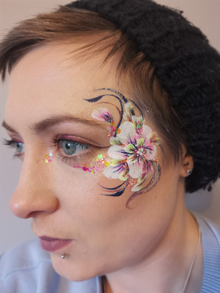 Adult Floral Face Paint with Glitter