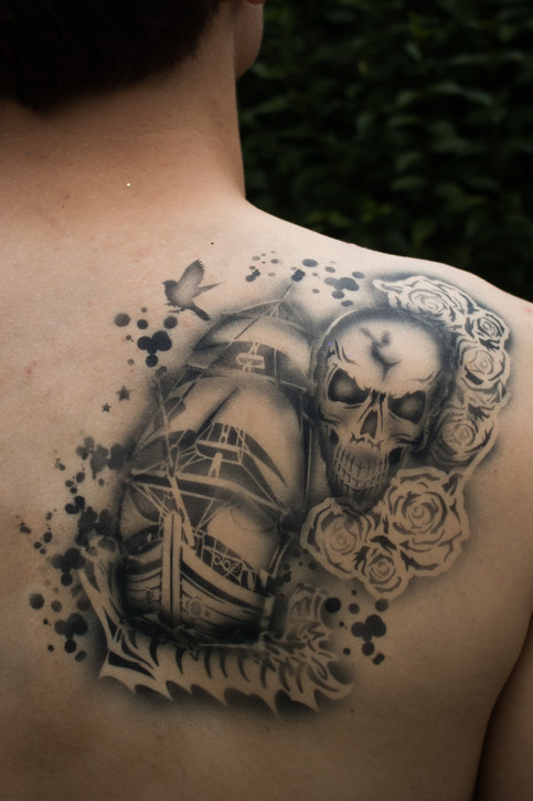 Ghost Ship Airbrush Tattoo