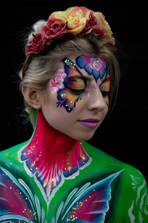 Adult Butterfly Festival Face Paint and glitter
