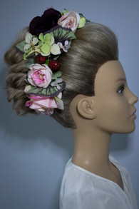 S Shape Bun with Flower Crown Bridal Hair Styling. Mazz Loxton, Hair and Makeup artistry, Sheffield