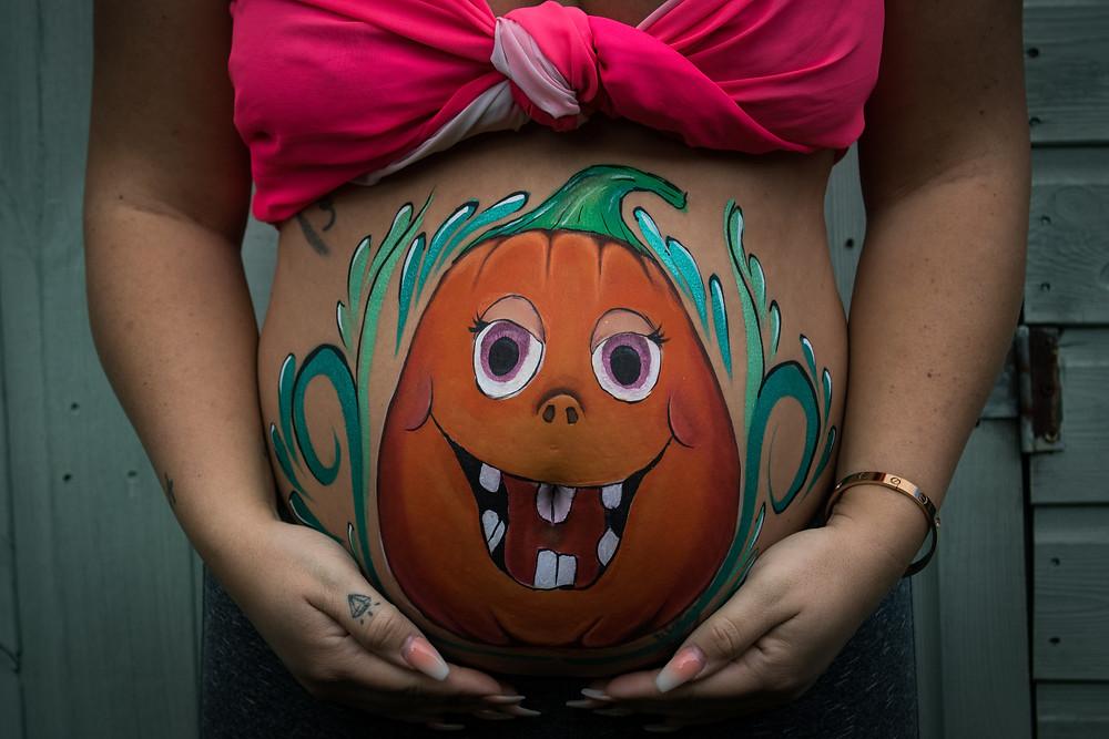 Cute Halloween Pumpkin inspired Belly Paint